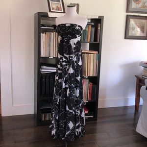 The Limited Black & Grey Strapless Tiered Maxi, 0